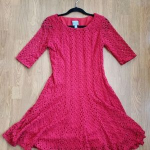 Red lace 3/4 sleeve dress size 8